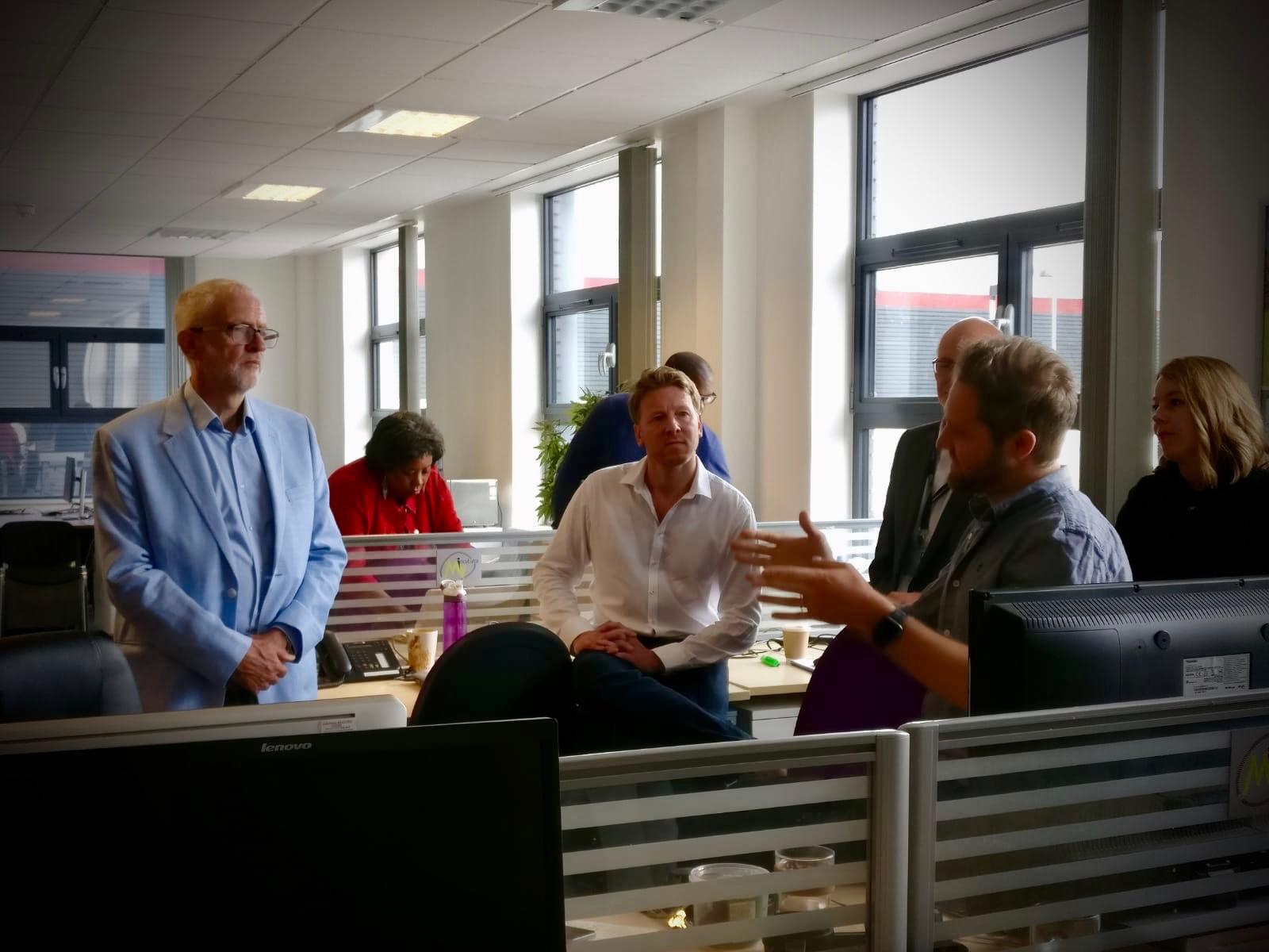 Ian Dodd talking to Labour leader Jeremy Corbyn at Stevenage BTC